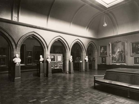 Scottish National Portrait Gallery, Raeburn Room and Arcade, late 1920s